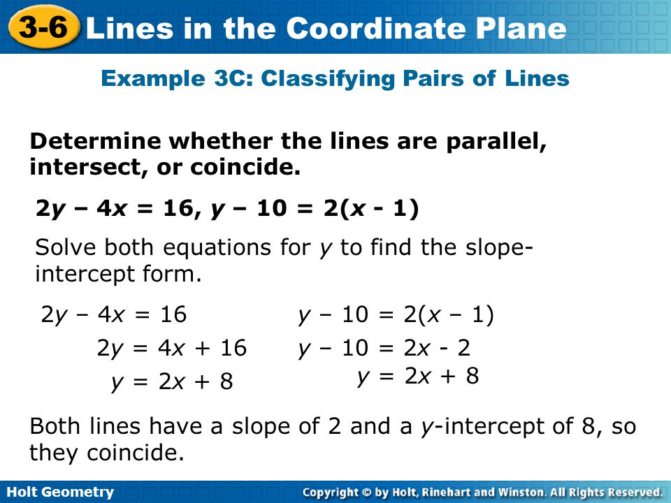 Example 3C: Classifying Pairs of Lines