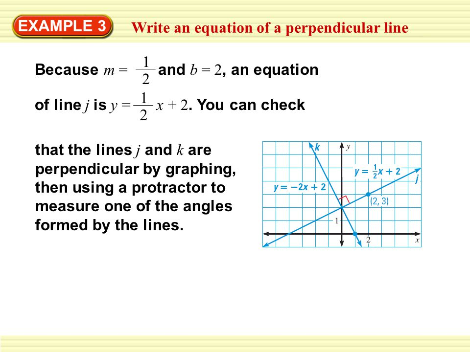 EXAMPLE 3 Write an equation of a perpendicular line. Because m = and b = 2, an equation. 1.
