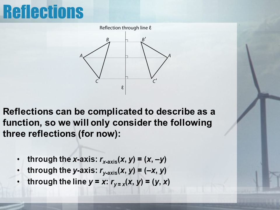 Reflections Reflections can be complicated to describe as a function, so we will only consider the following three reflections (for now):