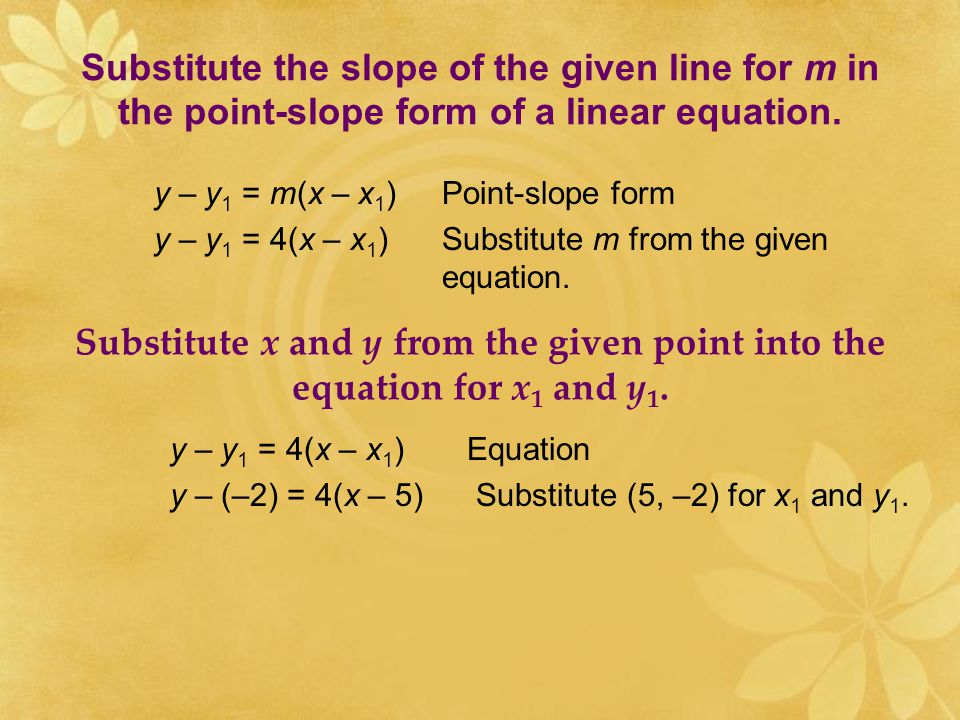Substitute the slope of the given line for m in the point-slope form of a linear equation.