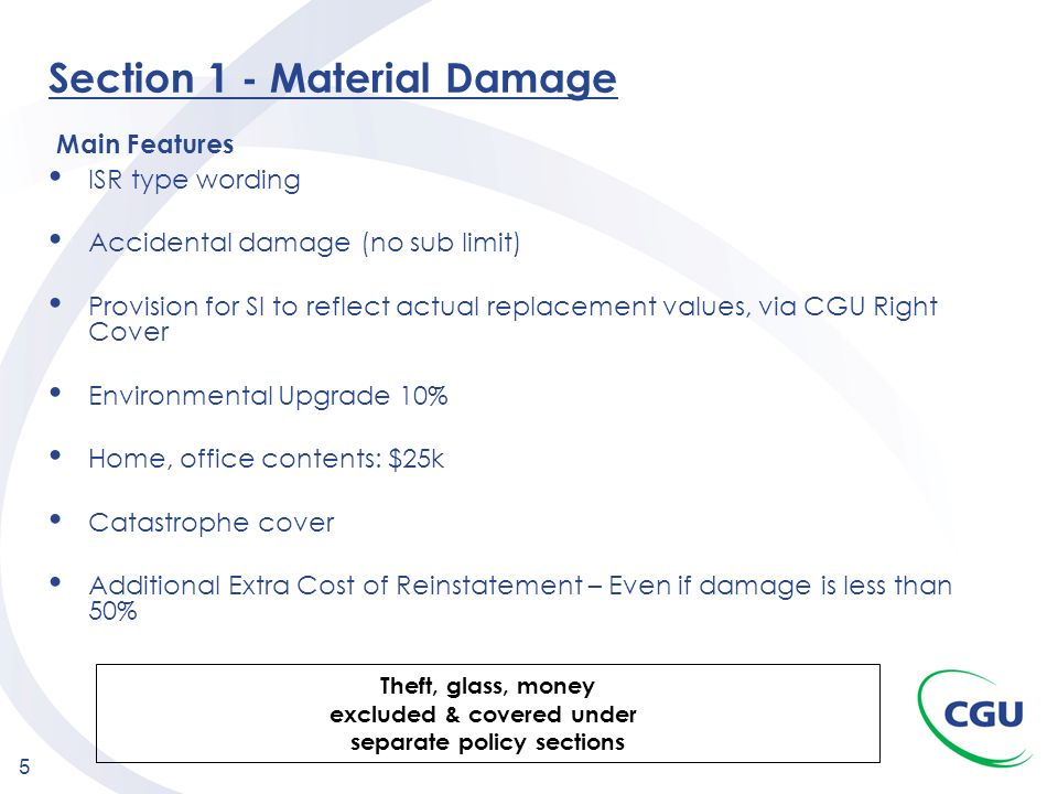 Section 1 - Material Damage