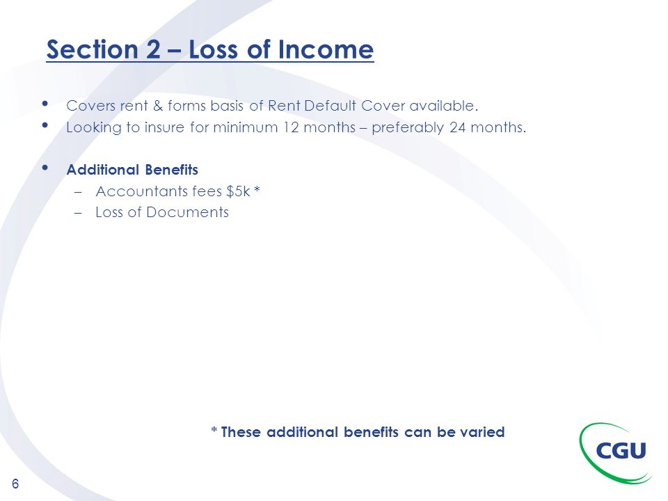 Section 2 – Loss of Income