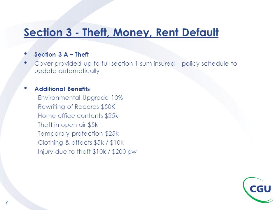 Section 3 - Theft, Money, Rent Default
