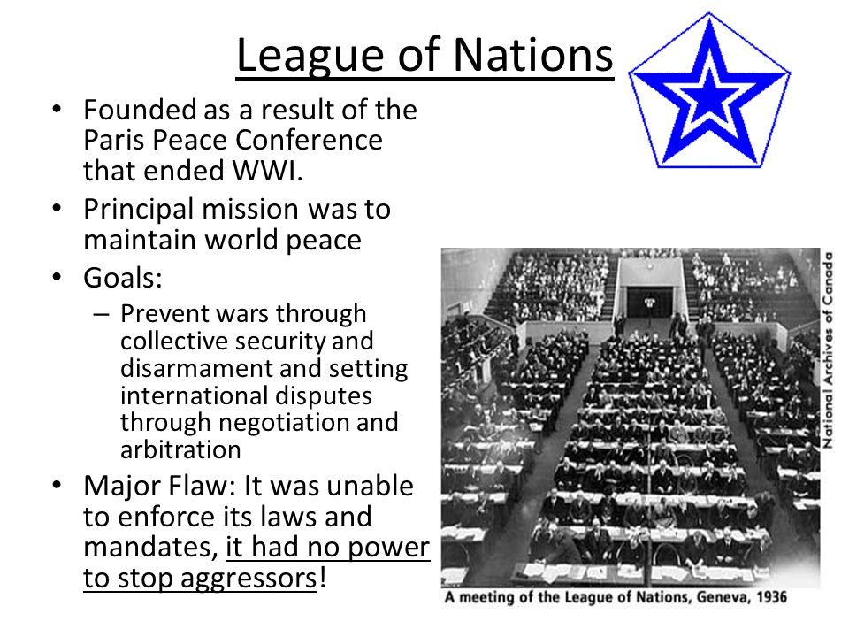 League of Nations Founded as a result of the Paris Peace Conference that ended WWI. Principal mission was to maintain world peace.