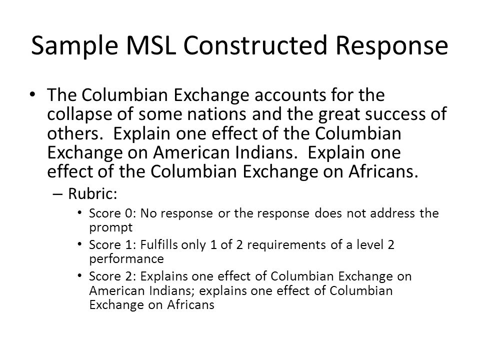 Sample MSL Constructed Response