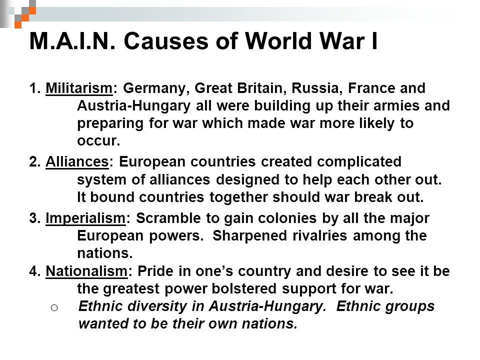 M.A.I.N. Causes of World War I