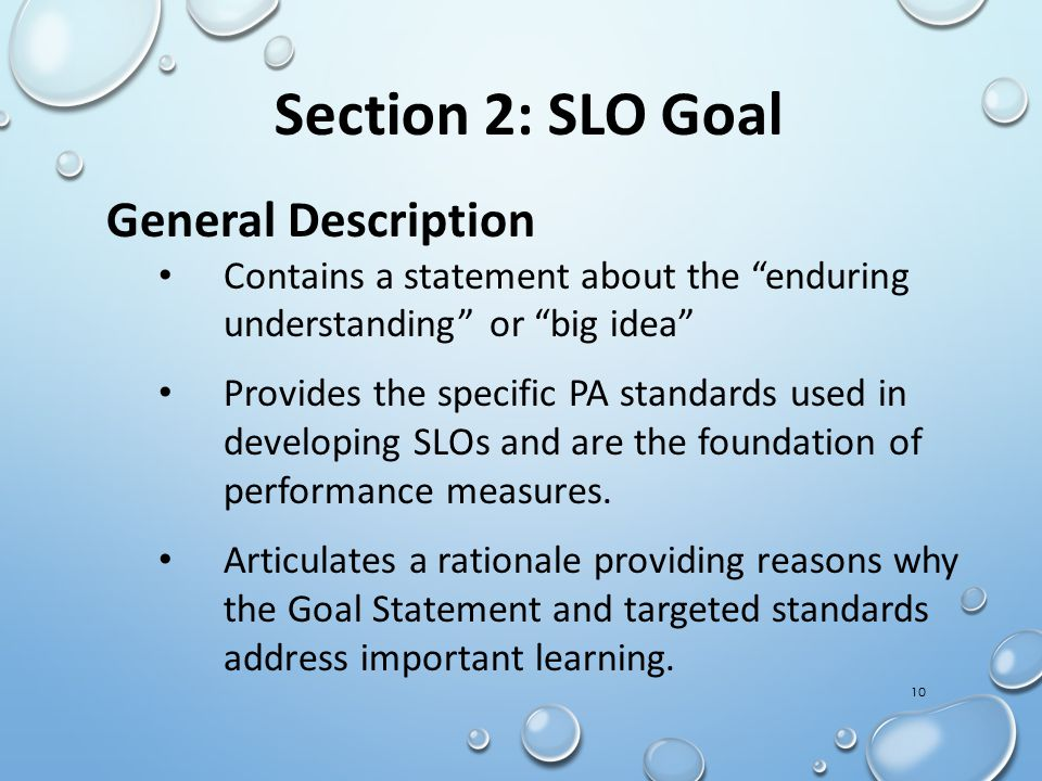 Section 2: SLO Goal General Description