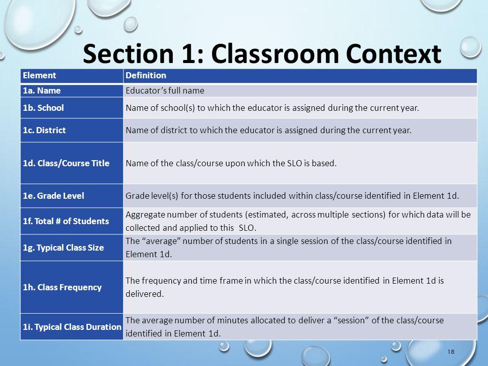 Section 1: Classroom Context