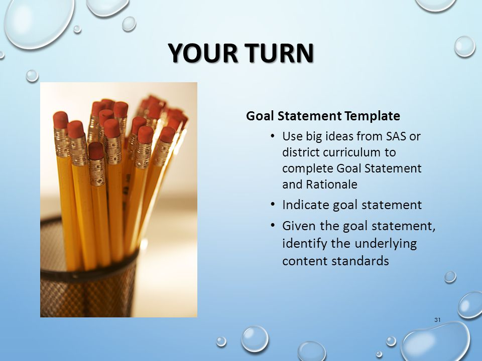 Your Turn Goal Statement Template Indicate goal statement