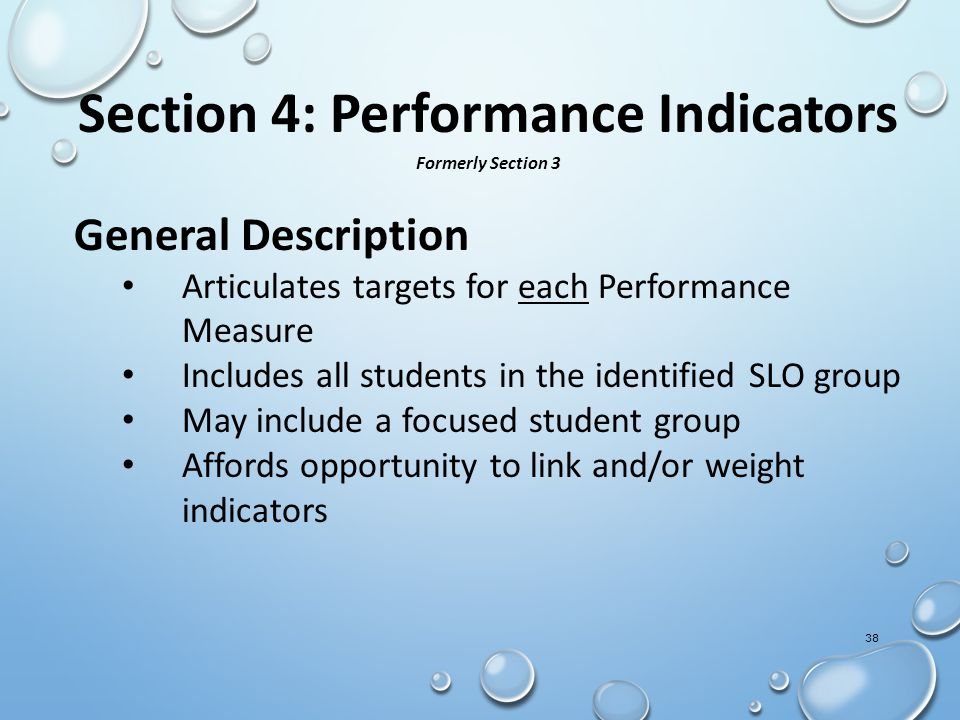 Section 4: Performance Indicators