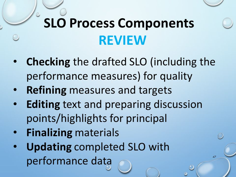SLO Process Components REVIEW