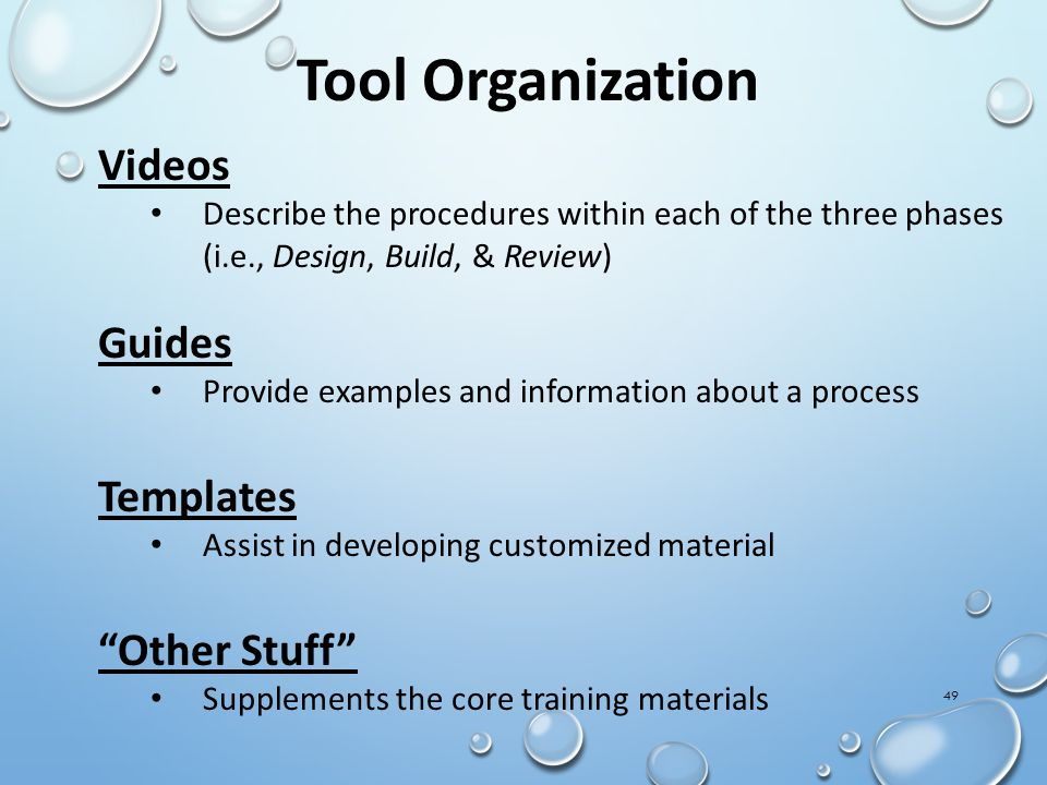Tool Organization Videos Guides Templates Other Stuff