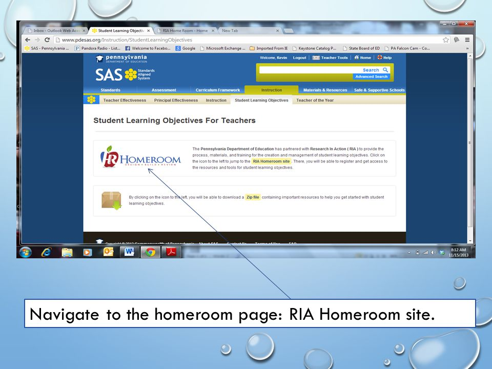 Navigate to the homeroom page: RIA Homeroom site.