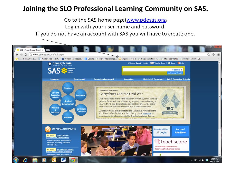 Joining the SLO Professional Learning Community on SAS.