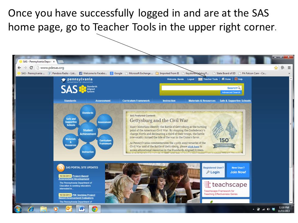 Once you have successfully logged in and are at the SAS home page, go to Teacher Tools in the upper right corner.