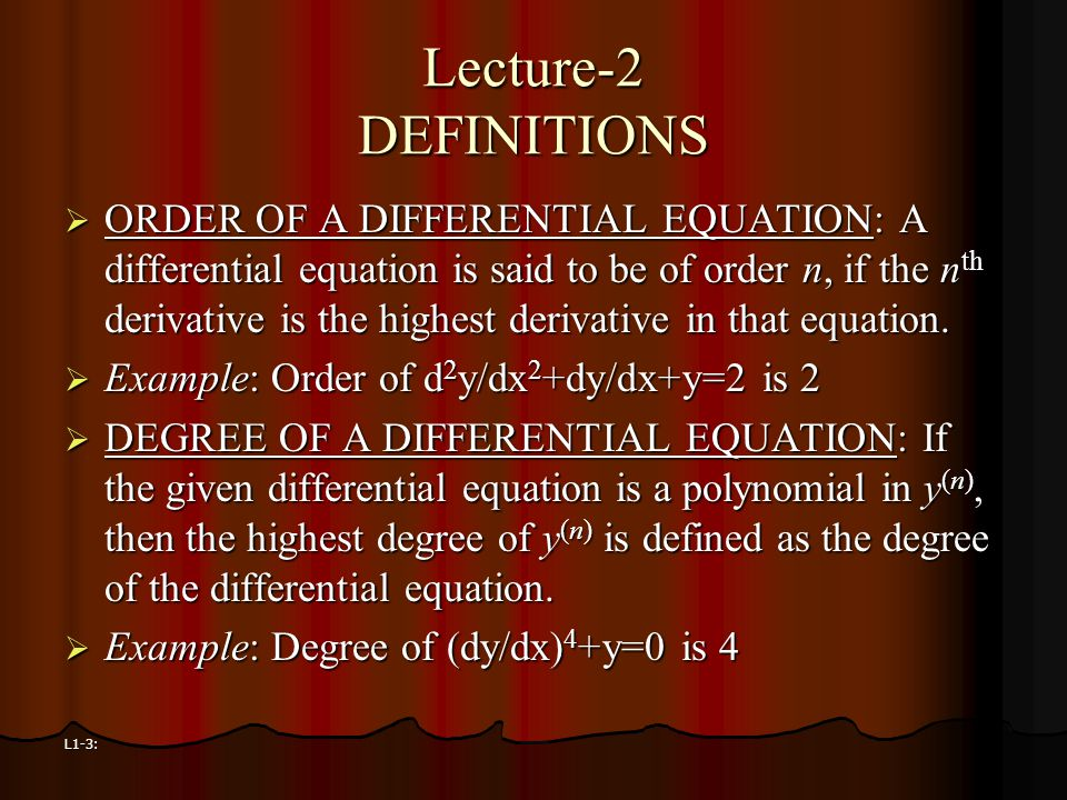 Lecture-2 DEFINITIONS