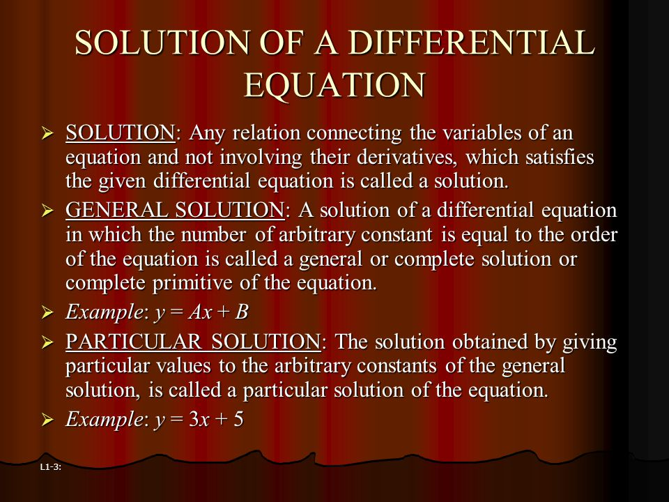 SOLUTION OF A DIFFERENTIAL EQUATION
