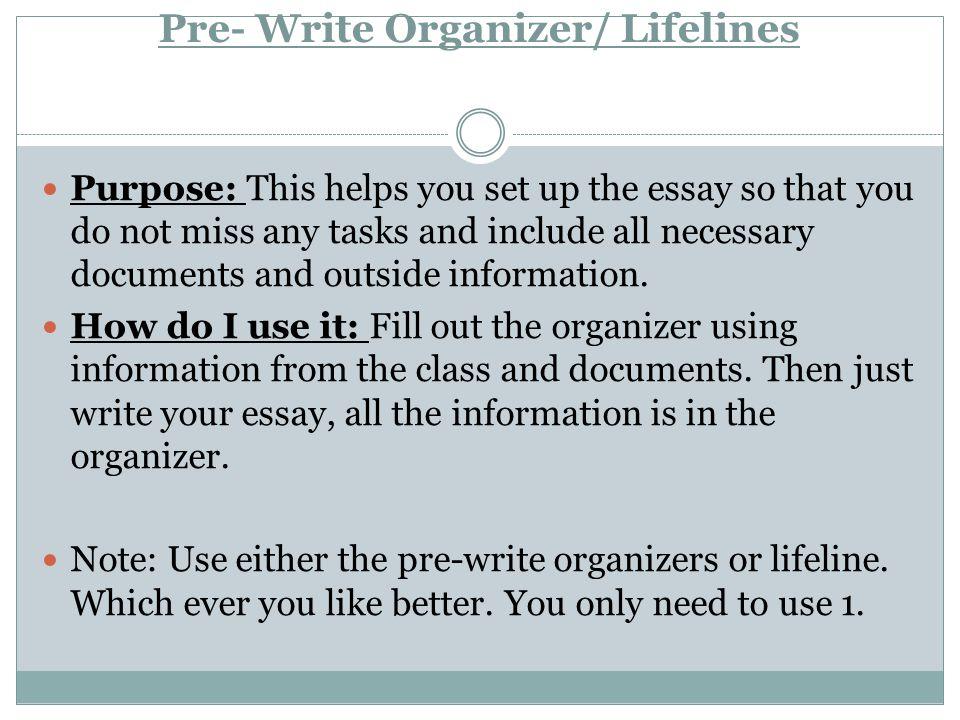 Pre- Write Organizer/ Lifelines