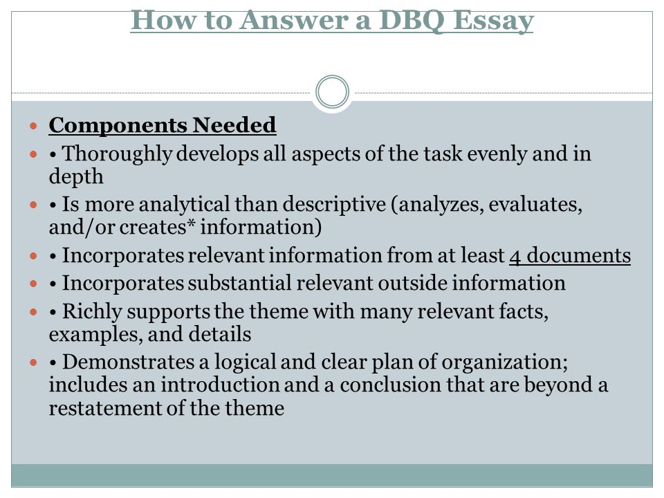 How to Answer a DBQ Essay