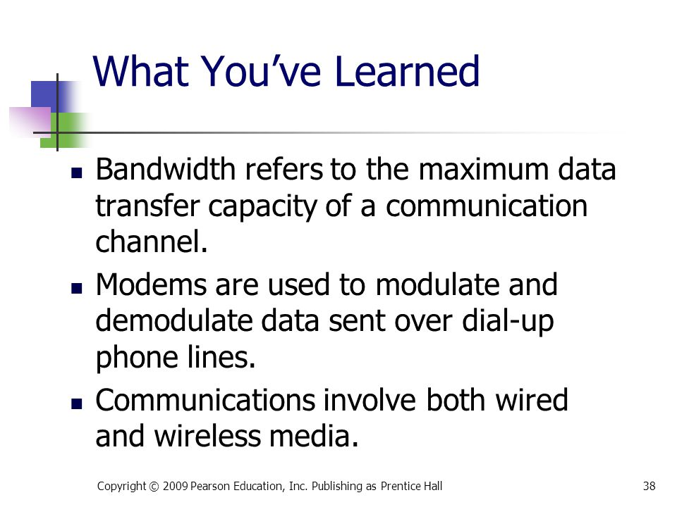 * 07/16/96. What You've Learned. Bandwidth refers to the maximum data transfer capacity of a communication channel.
