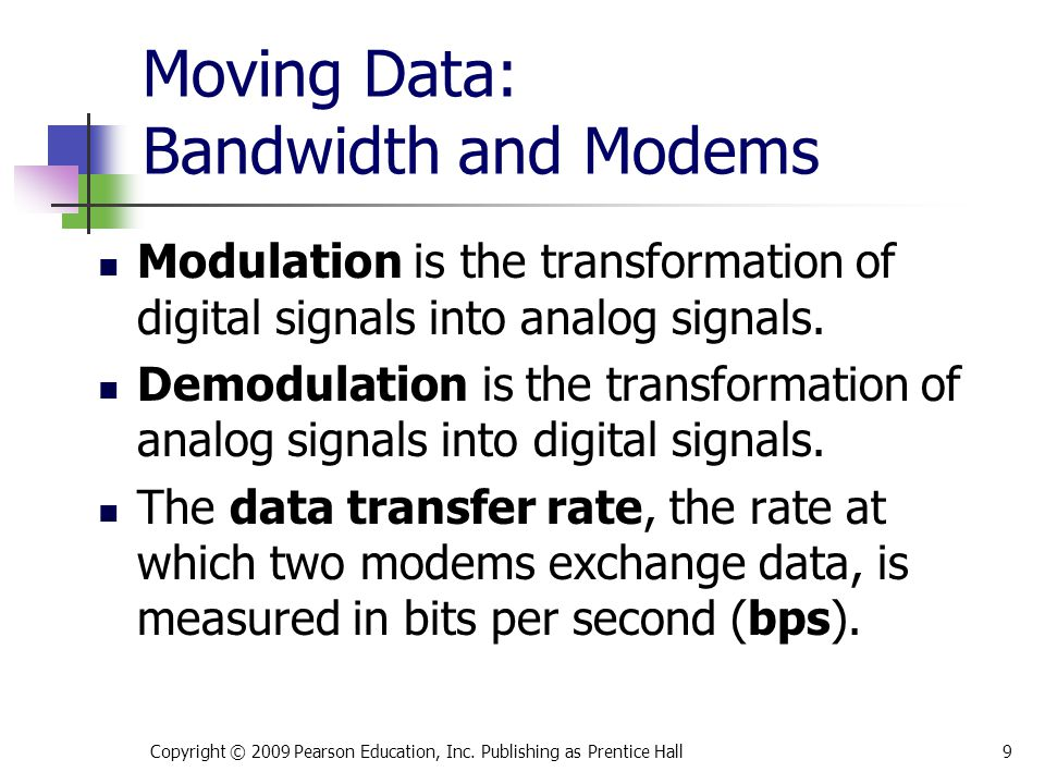 Moving Data: Bandwidth and Modems