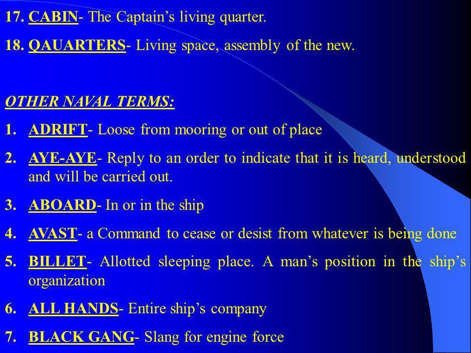 17. CABIN- The Captain's living quarter.