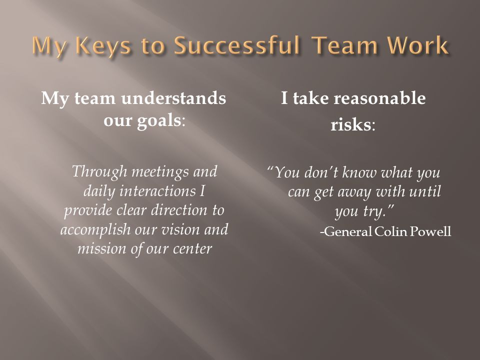 My Keys to Successful Team Work