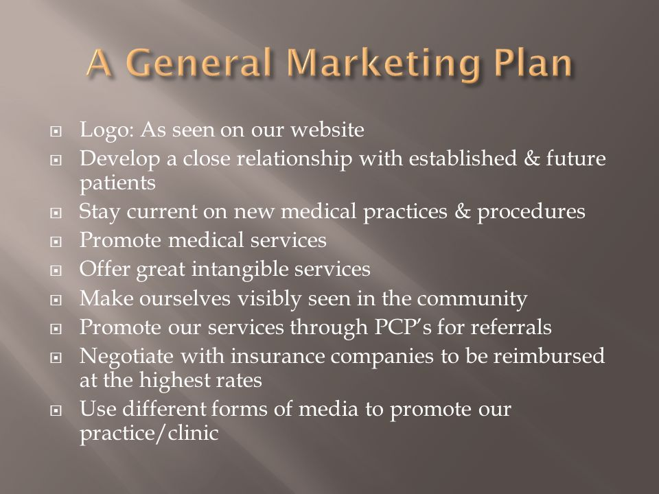 A General Marketing Plan
