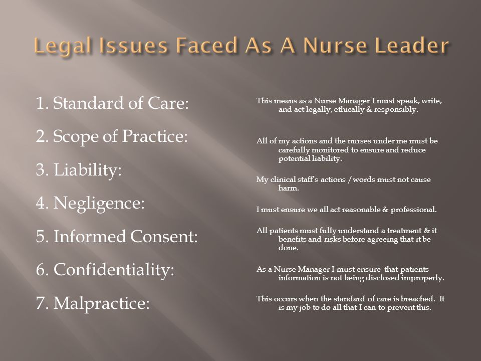 Legal Issues Faced As A Nurse Leader