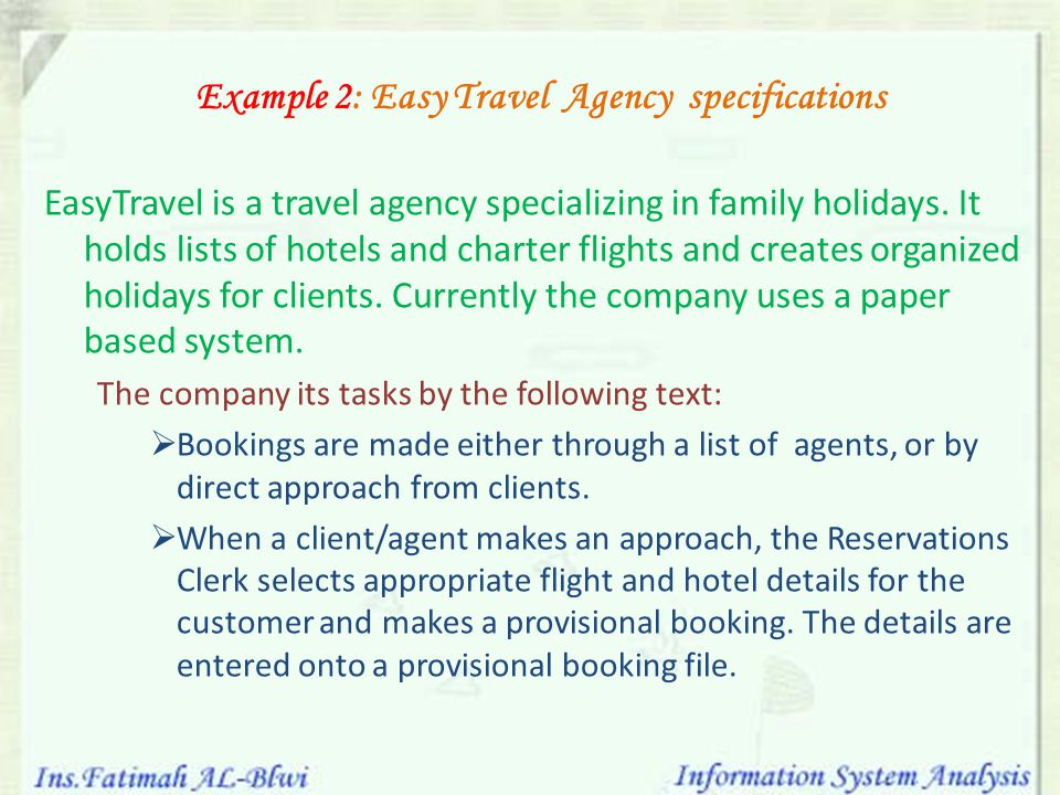 Example 2: Easy Travel Agency specifications