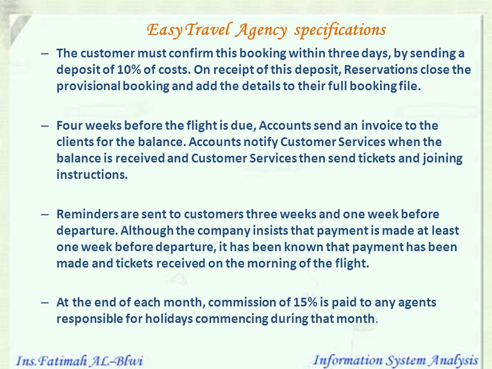 Easy Travel Agency specifications