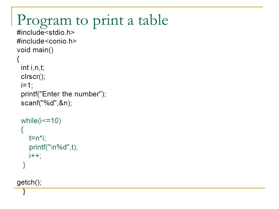 Program to print a table