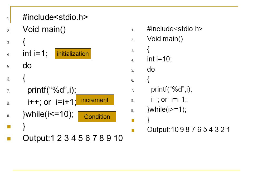 #include<stdio.h> Void main() { int i=1; do printf( %d ,i);