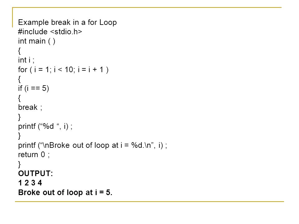 Example break in a for Loop