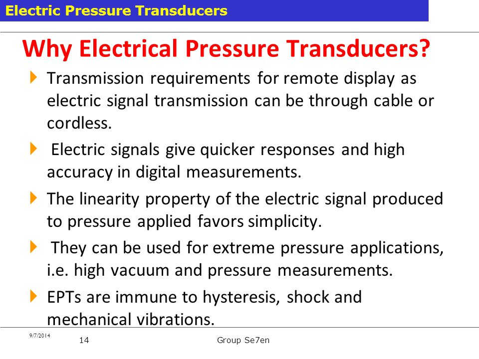 Why Electrical Pressure Transducers
