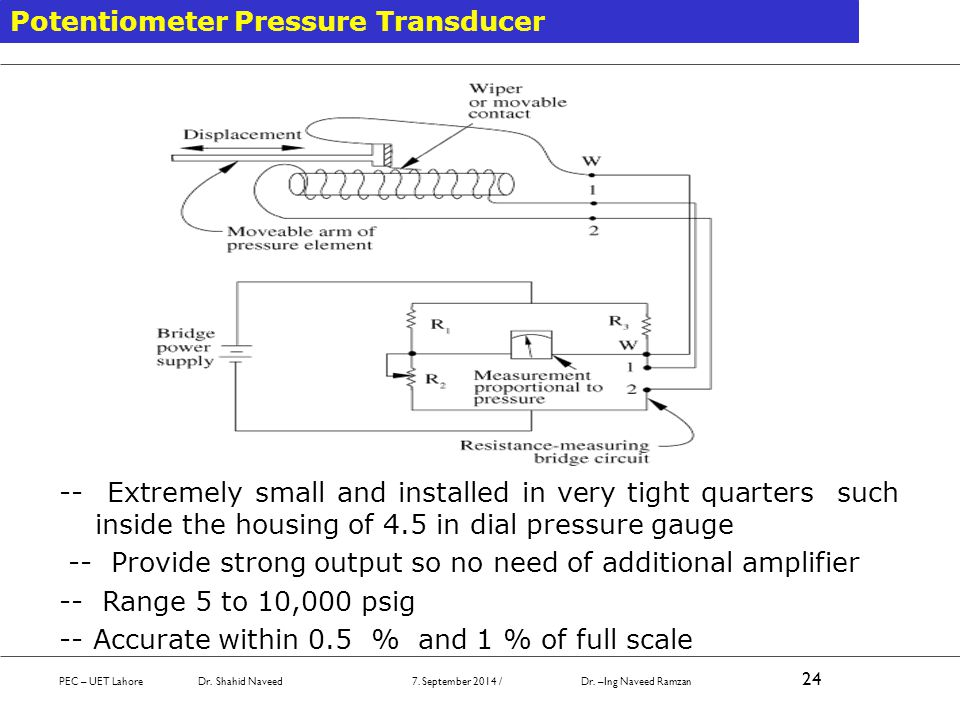 Potentiometer Pressure Transducer