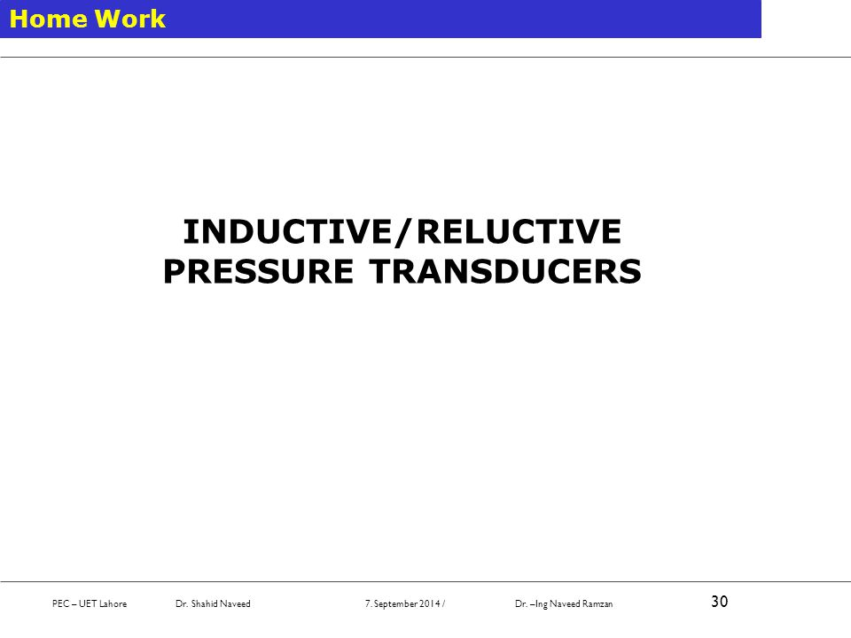 INDUCTIVE/RELUCTIVE PRESSURE TRANSDUCERS