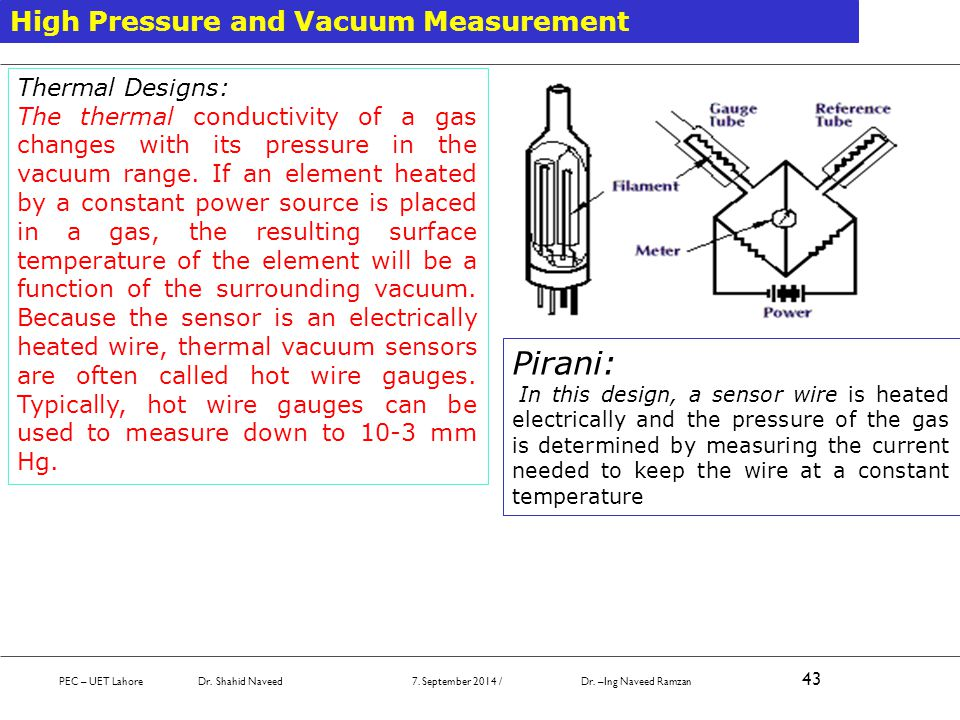 Pirani: High Pressure and Vacuum Measurement Thermal Designs: