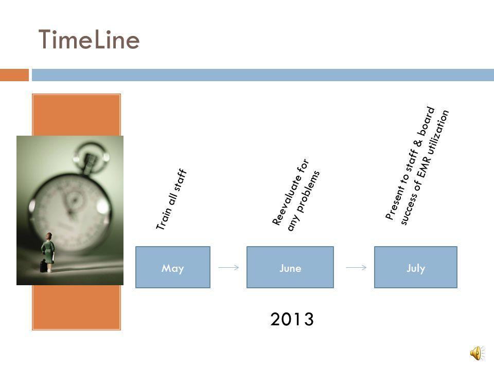 TimeLine 2013 Present to staff & board success of EMR utilization