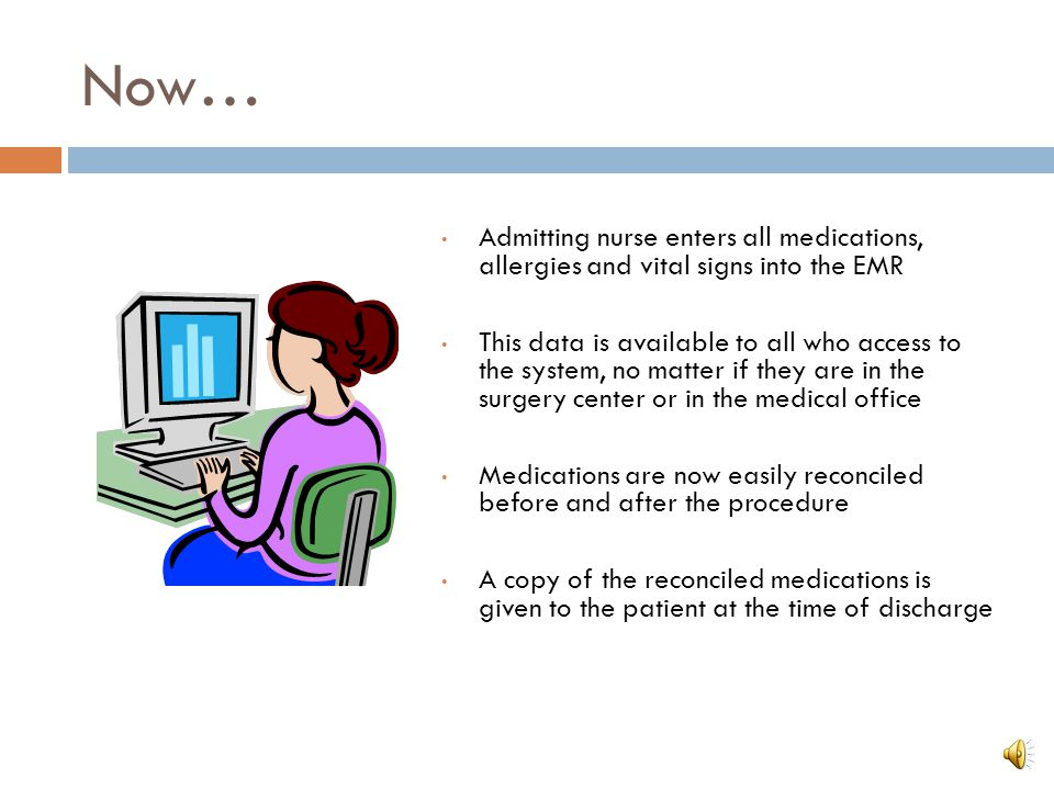 Now… Admitting nurse enters all medications, allergies and vital signs into the EMR.