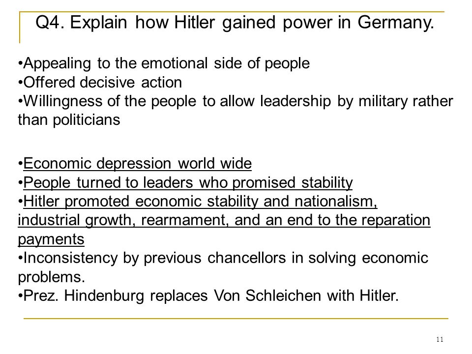 Q4. Explain how Hitler gained power in Germany.