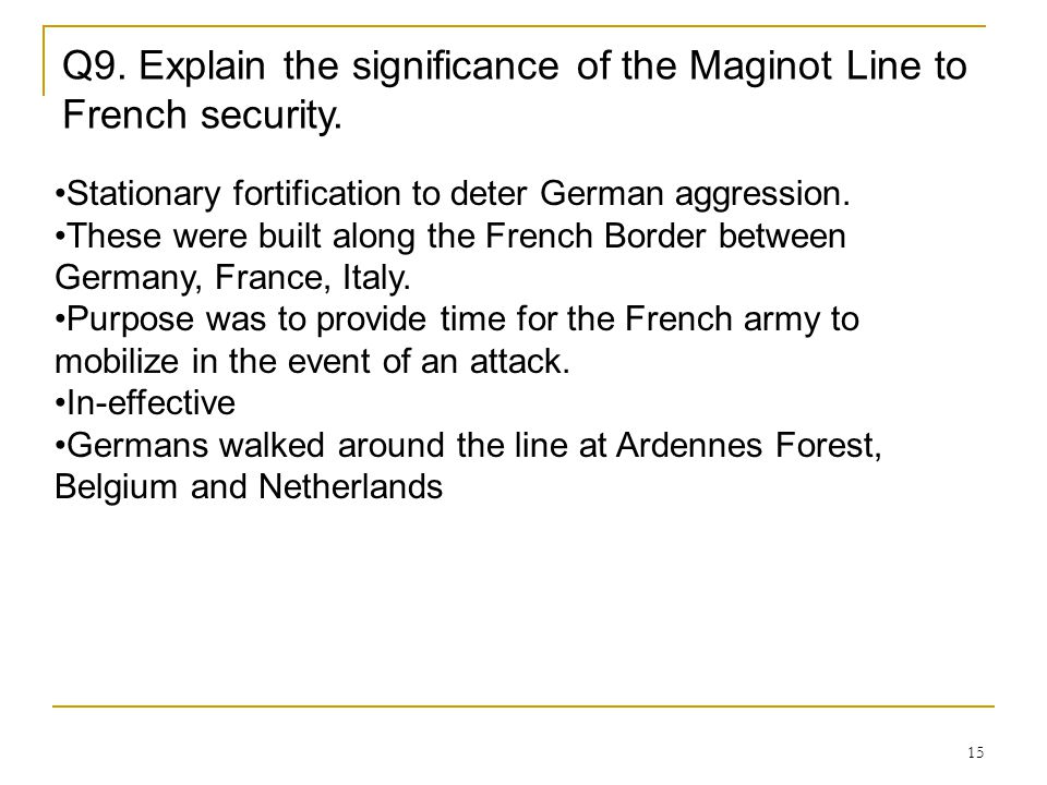 Q9. Explain the significance of the Maginot Line to French security.