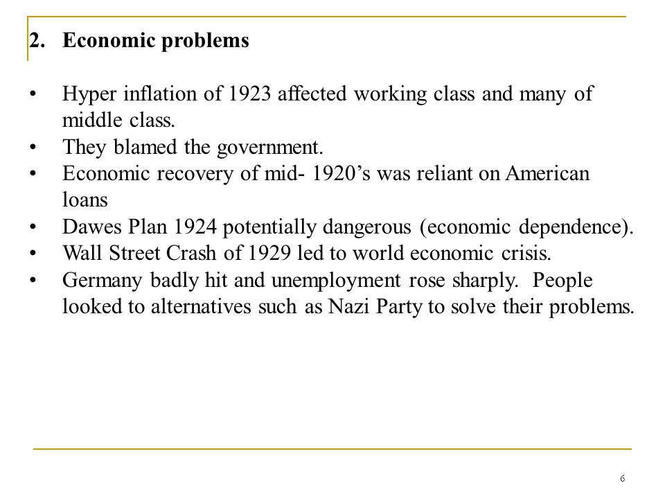 Economic problems Hyper inflation of 1923 affected working class and many of middle class. They blamed the government.