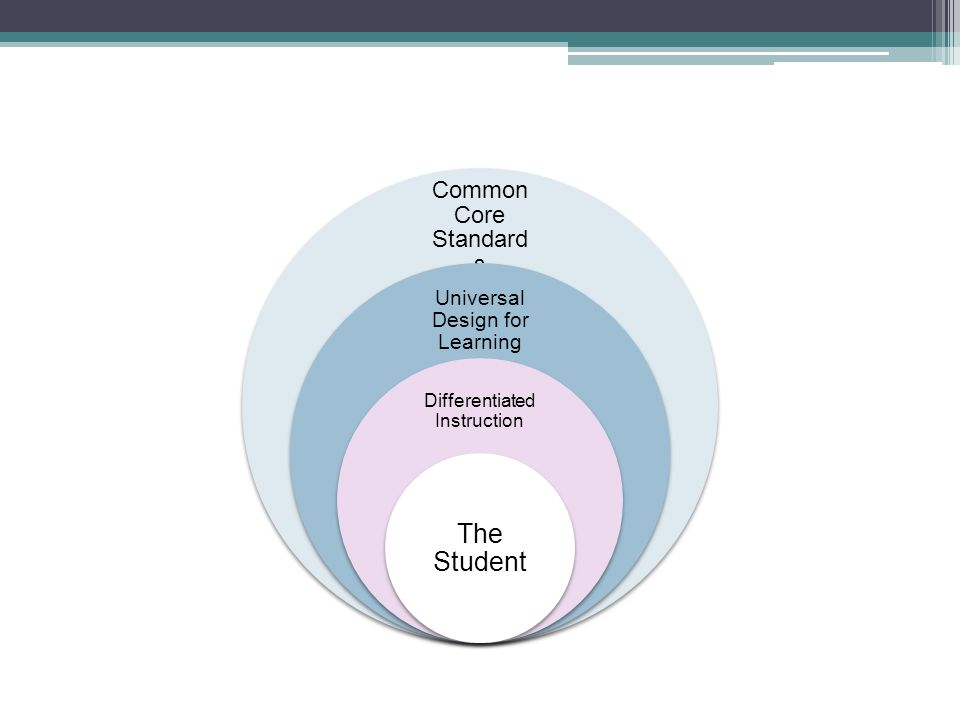 The Student Common Core Standards Universal Design for Learning