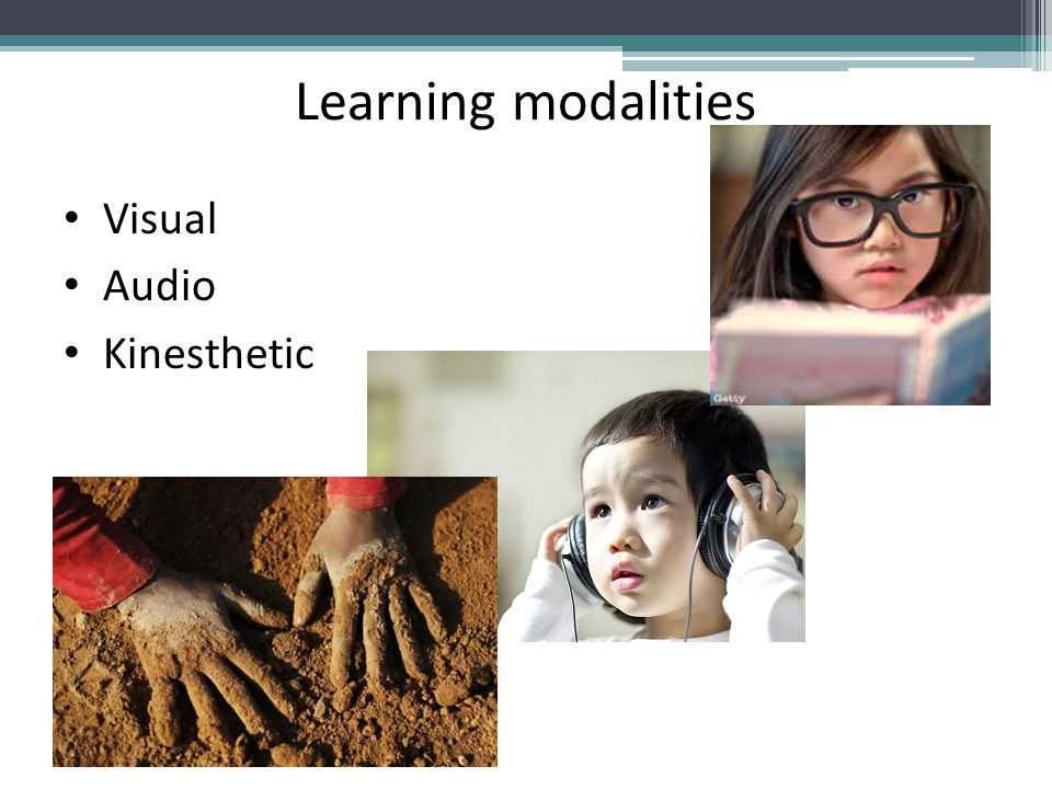 Learning modalities Visual Audio Kinesthetic