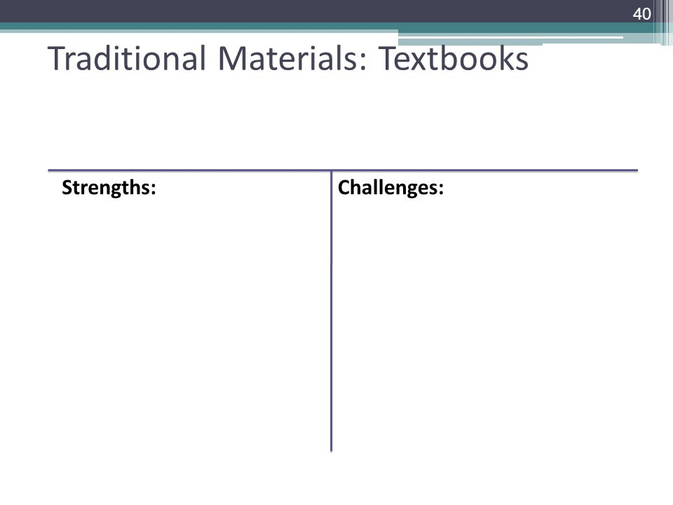 Traditional Materials: Textbooks