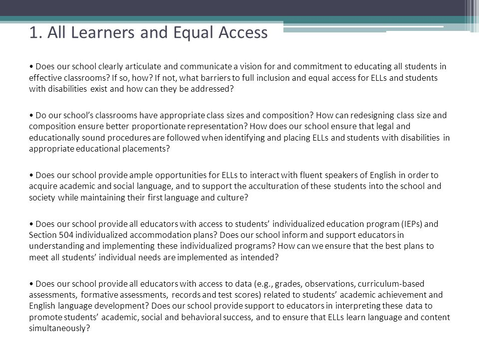 1. All Learners and Equal Access
