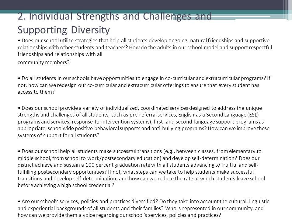 2. Individual Strengths and Challenges and Supporting Diversity
