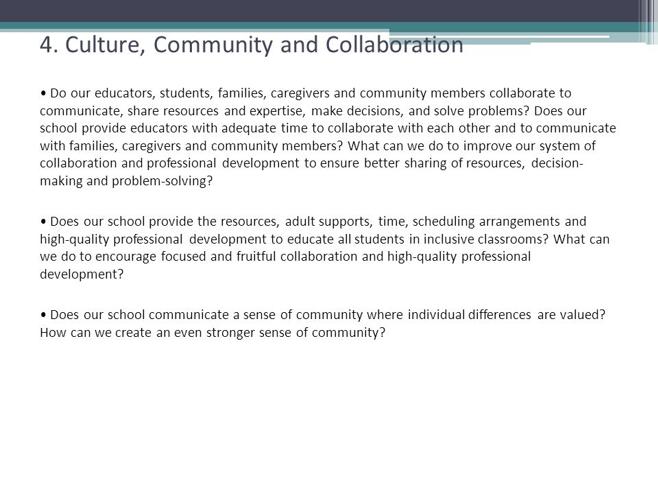 4. Culture, Community and Collaboration