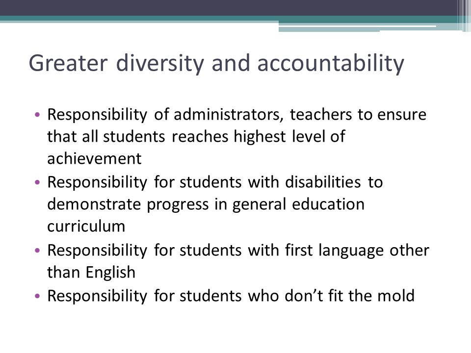 Greater diversity and accountability